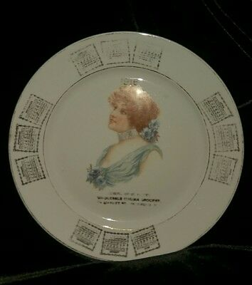 Antique 1916 Lady CALENDAR PLATE Advertising Italian grocery Patterson  NJ