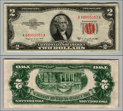 1953B $2 Dollar Bill Old Us Note Legal Tender Paper Money Currency Red Seal W403