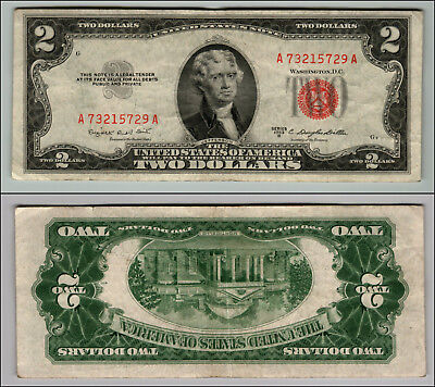 1953B $2 Dollar Bill Old Us Note Legal Tender Paper Money Currency Red Seal W406