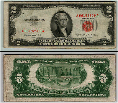 1953B $2 Dollar Bill Old Us Note Legal Tender Paper Money Currency Red Seal W407