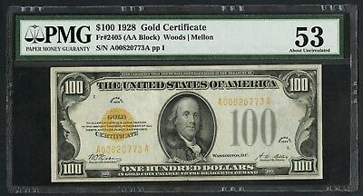 Fr2405 $100 19287 Gold Note Pmg 53 Au Well-Centered Front & Back Wlm4665