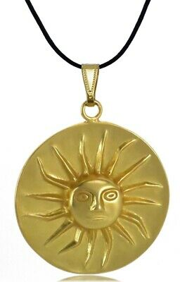 ACROSS THE PUDDLE 24k Gold Pre-Columbian Plated Shining Sun (L) Pendant Necklace