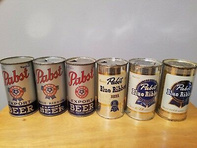 Stunning collection of Pabst flat top beer cans...must see!