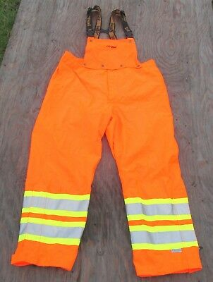 Viking Professional Orange Reflective Rain Bib Journeyman 300D Trilobal ~ 2XL