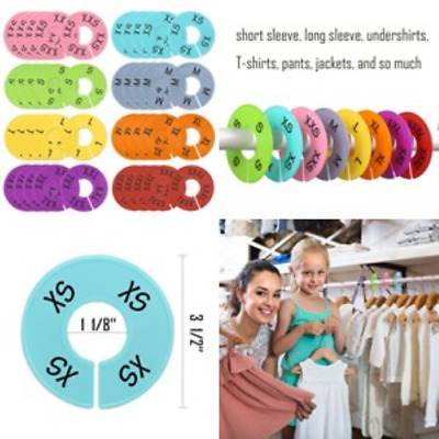 40 Pieces 8 Colors Round Size Dividers Closet Clothing Hangers Plastic Ring Best