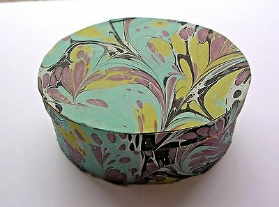 Marbelized Paper covered Wood Oval Shaker style Box-Handcrafted, Signed Vintage