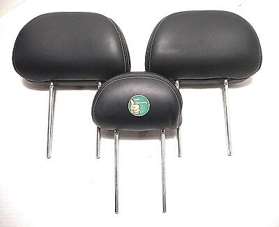 3) 01-09 Mercury Mariner Headrests Rear BLACK Leather 2001-2009 Ford Escape set