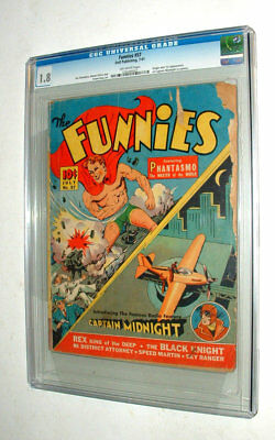 1941 FUNNIES ISSUE #57 COMIC BOOK w CAPTAIN MIDNIGHT CGC GRADED 1.8 CONDITION