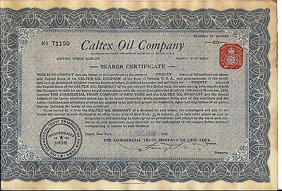 3 different. Stock certificate Caltex Oil Company New York 1919 uncancelled. *