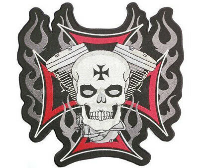 "V Twin Motorcycle Rider Maltese Skull Cross Jumbo XL Back Patch 9.5""x9.5"""