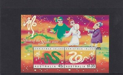 CHRISTMAS IS  2001  Year of the SNAKE MINISHEET MNH