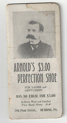 "Reading, PA - Vintage ARNOLD""S PERFECTION SHOE STORE Adv. Pocket Notebook"