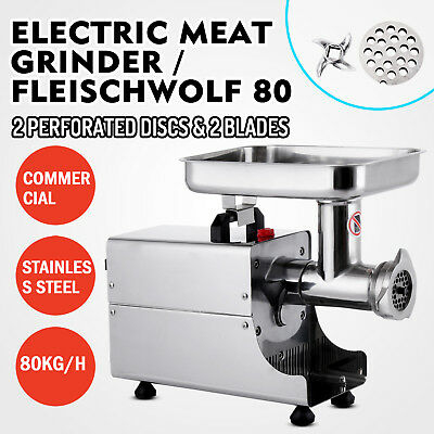 Commercial 80Kg/H Steel Meat Grinder 2 Knifes Home Durability 2 Washers UPDATED