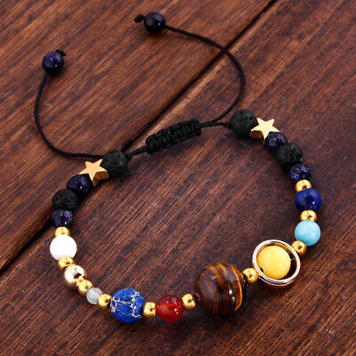 New Natural Stone Beaded Bracelet Galaxy Solar System Eight Planets Theme Gift