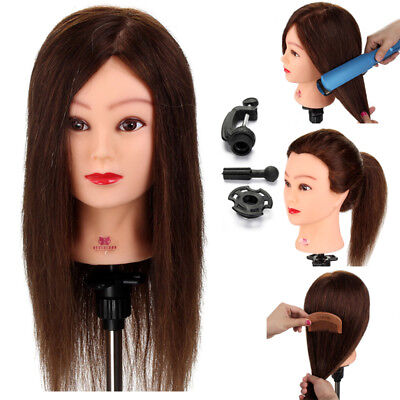 Training Practice Head 100% Real Hair Model Hairdressing Mannequin Doll + Clamp