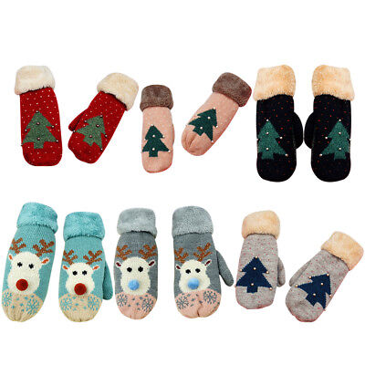 Women Girls Winter Warm Christmas Elk Gloves Xmas Tree Cashmere Knitted Mittens