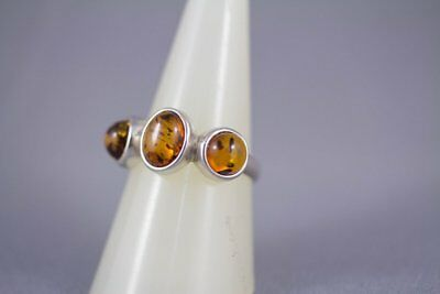 Sterling Silver and Cognac Baltic Amber Trilogy Ring