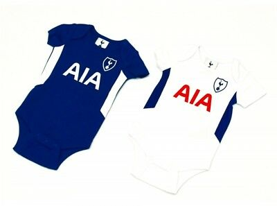 Spurs FC Official Football Gift 2Pk Home Away Kit Baby Bodysuits Blue White