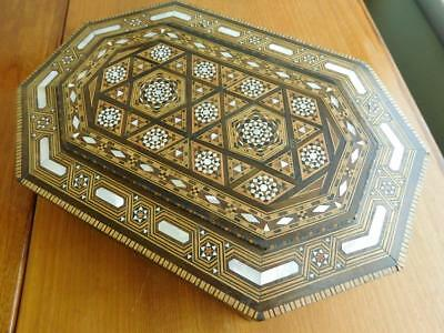 Large Indian Intricate Parquetry Inlaid Box Mixed Woods & Pearl Shell Bone etc