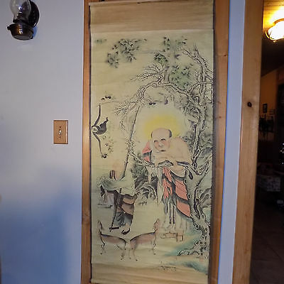 Antique Father Son & Deer Ancestral 1800's Signed Chinese Scroll Large 51X26