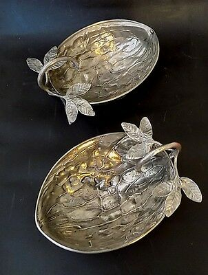 Antique Silver Plated Nut Dishes. Half Walnuts. Very Unusual. Good Quality.