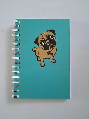 A6 Pug Notebook (Party Bag, School Diary), Aqua Notepad, Christmas, Free & Local