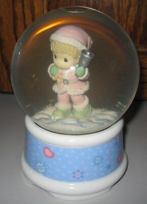 1997 Precious Moments Musical Snow Globe Winter Wonderland Santa Music Globe VGC