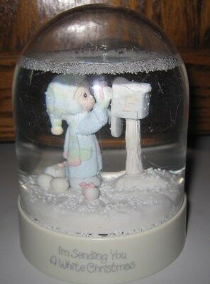 1986 Precious Moments I'm Sending You a White Christmas Snow Globe VGC Waterball