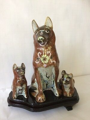 Vintage Chinese Cloisonne Enamel on metal Dogs on Wooden Stand -  3 Dogs 1970's