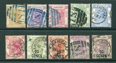 Selection of Old China Hong Kong GB QV 10 x Classic stamps Used Shanghai Pmks