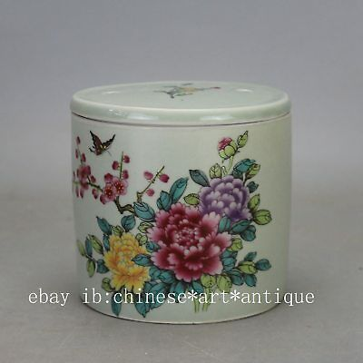 Chinese old hand-carved porcelain famille rose glaze flower pattern Cricket cans