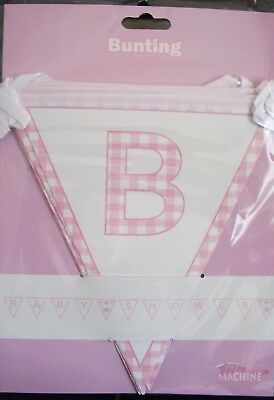 Pink Bunting 3M approx.  A Baby Shower decoration