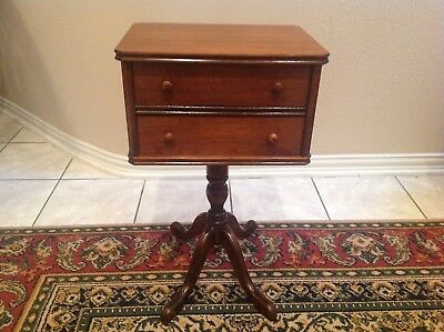 Vintage Sewing Side Table With Swinging Thread Drawer