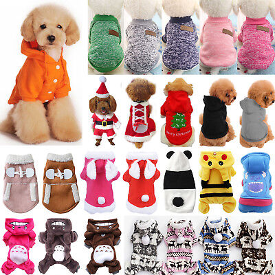 Pet Clothes Hoodie Sweater Coat Puppy Dog Cat Winter Warm Costume Apparel Xmas