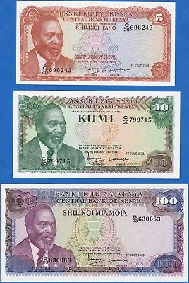 Kenya 1978 5, 10 and 100 Shilling Banknotes P-15, 16, 18 GEM UNC  US-Seller