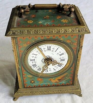 Painted Faux Mosaic/Cloisonne Japy Freres French Carriage Clock Old Vtg Antique