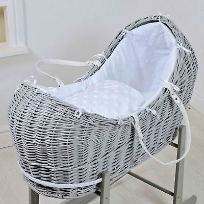 New 4Baby Grey Wicker / White Dimple Stars Padded Snooze Pod Baby Moses Basket