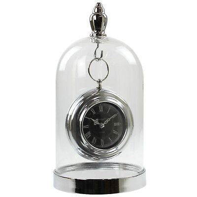 Hanging Silver Clock Inside Clear Glass Dome Quartz Mantel Desk Time Display New