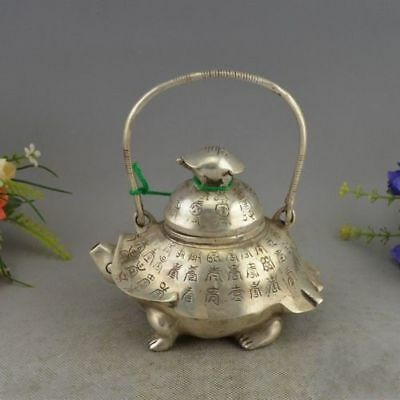 Collectible Decorated Old Handwork Miao Silver Carved Tortoise Tea Pot