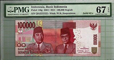 Indonesia 100,000 Rupiah Fancy Solid 2 Serial Number PMG67 EPQ