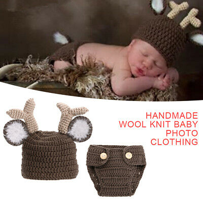 Newborn Baby Girls Boys Crochet Knit deer Costume Photo Photography Prop Outfits