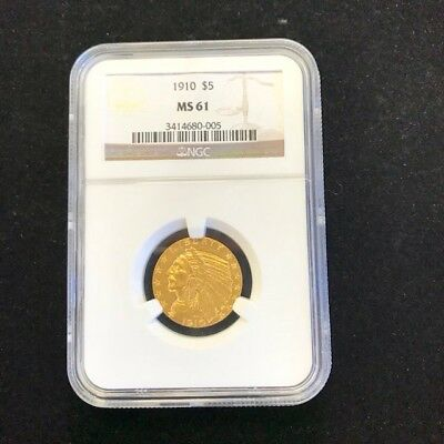 1910 Indian Head $5 Gold Half Eagle Coin NGC MS61