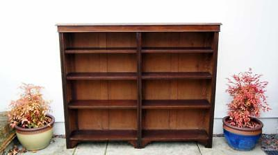 Wide early 20th c Mahogany open bookcase adjustable  shelves 148cm W x 122cm H