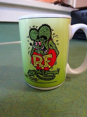 "Rat Fink White Double Image Coffee Mug Ed ""big Daddy"" Roth Brand New In Box 2006"