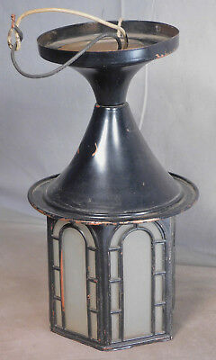 Antique COPPER Porch Light Exterior Arts Crafts Mission Tudor Ceiling Fixture