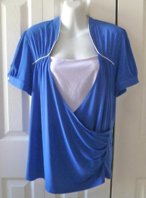 Studio 1940 Slinky Blue and White Short Sleeved Knit Blouse XL