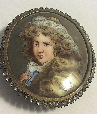 Antique Hand Painted Lady  Miniature Portrait  Jeweled Framed French