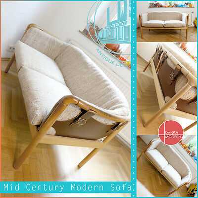 SWEDEN DUX MID CENTURY MODERN SOFA 50s 60s DESIGN COUCH TWO SEATER HARD VINTAGE
