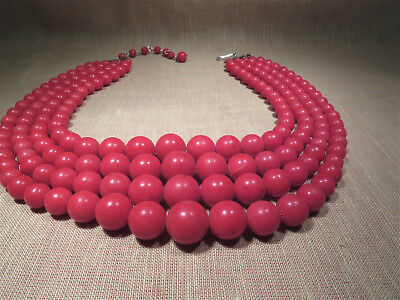 Vintage Faux Coral 4-Strand Necklace, Graduated Beads 13-7.5mm, c. 1970