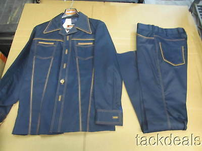 New Mens 42 Vintage Pioneer Wear Western Suit Blue Leather Trimmed AWESOME